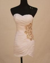 Sweet Short Sweetheart-neck Mini-length White Beading Prom Dresses Style FA-C-156