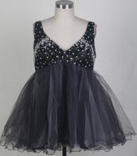 Sweet Short V-neck Mini-length Black Prom Dress LHJ42845