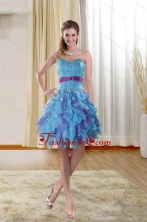 Sweetheart 2015 Short Prom Gown with Ruffles and Beading XFNAO783TZCFOR
