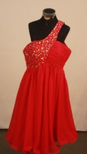 Unique Short One-shoulder Neck Mini-length Red Beading Prom Dresses Style FA-C-160