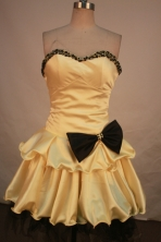 Wonderful A-line sweetheart-neck mini length beading gold short prom dresses FA-X-115
