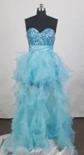 Wonderful Empire Sweetheart Floor-length Aqua Blue Prom Dress LHJ42873