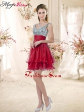 Wonderful Straps Sequins and Ruching Prom Dresses in Wine Red BMT072-6FOR