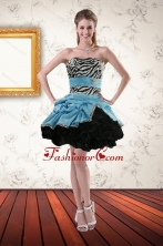Zebra Printed Strapless Short Prom Gown with Ruffles and Pick Ups XFNAO435TZBFOR