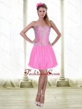 2015 Elegant Short Sweetheart Prom Dresses with Beading in Rose Pink2015 Elegant Short Sweetheart Prom Dresses with Beading in Rose Pink SJQDDT52003FOR