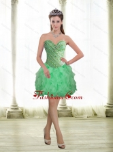 2015 Fashionable Apple Green Prom Dresses with Beading and Ruffles SJQDDT13003FOR
