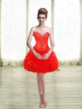 2015 Fashionable Appliques and Ruffles Red Prom Dresses SJQDDT28003FOR