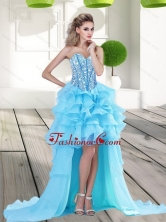 2015 Fashionable Aqua Blue High Low Prom Dress with Beading and Ruffles QDDTA71004FOR