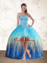2015 Fashionable Baby Blue Sweetheart Multi Color Prom Dresses with Ruffles and Beading QDZY109TZEFOR