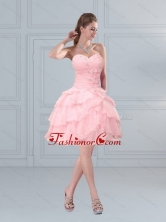 2015 Fashionable Baby Pink Sweetheart Beading Prom Gown with Ruffled Layers MLXN911415TZCFOR