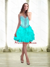 2015 Fashionable Beading and Ruffles Aqua Blue Prom Dresses with Sweetheart SJQDDT16003FOR