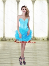 2015 Fashionable Beading and Ruffles Baby Blue Prom Dresses with Sweetheart SJQDDT25003FOR