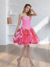 2015 Fashionable Beading and Ruffles Multi Color Prom Dresses SJQDDT37003FOR