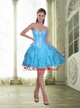 2015 Fashionable Beading and Ruffles Short Prom Dresses in Baby Blue SJQDDT23003FOR