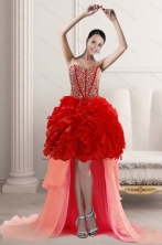 2015 Fashionable High Low Prom Dresses with Beading and Ruffles XFNAO5781TZBFOR