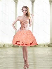 2015 Fashionable Short Peach Prom Dresses with Beading and Pick Ups SJQDDT22003FOR