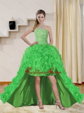 2015 Fashionable Spring Green High Low Prom Dresses with Beading QDZY257TZBFOR