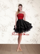 2015 Fashionable Strapless Beading Prom Dresses in Red and Black QDZY597TZCFOR