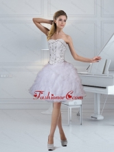 2015 Fashionable Strapless White Prom Dresses with Ruffles and Beading QDZY152TZCFOR