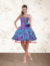 2015 Fashionable Sweetheart Beading Multi Color Prom Dresses with Hand Made Flower QDZY453TZCFOR