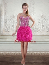 2015 Fashionable Sweetheart Hot Pink Prom Gown with Beading and Ruffled Layers LFY091906TZCFOR