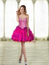 2015 Fashionable Sweetheart Multi Color Prom Dresses with Beading and Ruffles SJQDDT24003FOR