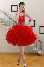 2015 Fashionable Sweetheart Ruffles Red Prom Gown with Beading XFNAO5793TZBFOR