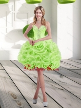 2015 Fashionable Sweetheart Short Rolling Flowers Prom Dresses in Spring Green SJQDDT17003FOR