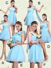 2015 Ruching Chiffon Aqua Blue Prom Dresses with Mini Length BMT017FOR