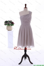 2015 Summer Empire One Shoulder Ruching Short Prom Dresses in Grey DBEES076FOR