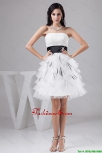 2016 Exquisite Belt and Ruffled Layers White Short Prom Dresses  DBEE414FOR