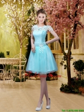 2016 Fashionable A Line Belt and Appliques Prom Dresses with Cap Sleeves BMT032FFOR
