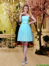 2016 Fashionable A Line Laced Prom Dresses with Belt in Aqua Blue BMT032DFOR