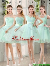 2016 Spring A Line Ruching Prom Dresses with Belt in Apple Green BMT014-5FOR