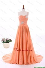 2016 Summer Empire One Shoulder Prom Dresses with Hand Made Flowers DBEES199FOR