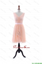 2016 Summer Empire V Neck Prom Dresses with Ruching and Belt DBEES200FOR
