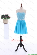 2016 Summer Short Strapless Prom Dresses with Beading in Baby Blue DBEES085FOR
