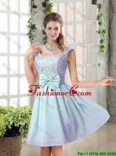 A Line Straps Bowknot Short Prom Dresses with Bowknot BMT010B-2FOR