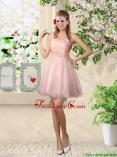 Affordable A Line One Shoulder Appliques Prom Dresses in Pink BMT037BFOR