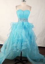Affordable A-line Sweetheart High-low Knee-length Aqua Prom Dress LHJ42802