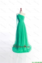 Affordable Appliques Green Long Prom Dress with Sweep Train for 2016 DBEES147FOR