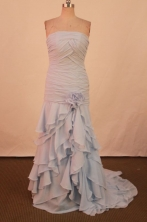 Affordable Column Strapless Floor-length Gray Prom Dresses Style FA-C-179
