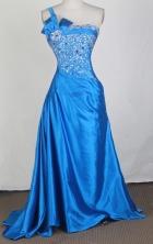 Affordable Empire One Shoulder Floor-length Sky Blue Prom Dress LHJ42827