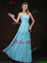 Affordable Strapless Floor Length Fashionable Prom Dresses in Aqua Blue BMT069AFOR