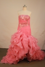 Beautiful A-line strapless floor-length organza watermelon beading prom dresses FA-X-120