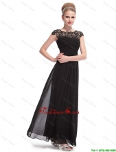 Beautiful Bateau Black Prom Dresses with Lace and Ruching DBEE048FOR
