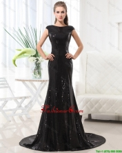 Beautiful Column Bateau Brush Train Sequins Prom Dresses in Black DBEE515FOR