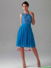 Beautiful Empire Bateau Blue Prom Dresses with Lace DBEE135FOR