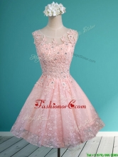 Best Scoop Beading and Appliques Short Prom Dress in Baby Pink BMT0120CFOR