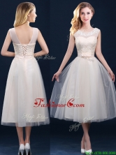 Best Selling See Through Champagne Prom Dress with Appliques and Belt BMT0185BFOR